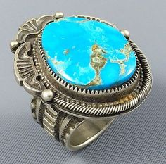 24g-GIANT-Navajo-TOMMY-JACKSON-Ingot-Sterling-BISBEE-Turquoise-MENS-Ring-Sz-10