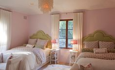 Shared Girls' Bedroom. Pink and green. || Christina Rottman Designs