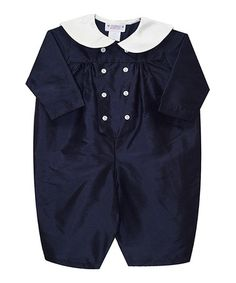 Loving this Navy Silk Long Bubble Romper - Infant on Baby Boy Fashion, Boy Outfits, Bermuda Shorts, Infant, Bubbles, Rompers, Comfy, Navy, Boys