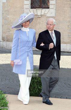 Princess Isabelle of Liechtenstein and Prince Philipp Of Liechtenstein arrive at Wedding of Prince Amedeo of Belgium and Elisabetta Maria Rosboch Von Wolkenstein at Basilica Santa Maria in Trastevere on July 5, 2014 in Rome, Italy.