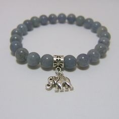 Blue Aventurine BRACELET ~ Flower Petal Bail Bead with Elephant charm ~ 8mm beads on stretch cord - measures approx 7 inches www.sgtpepperscreations.etsy.com #blueaventurine #adventurinebracelet #elephant #elephantbracelet