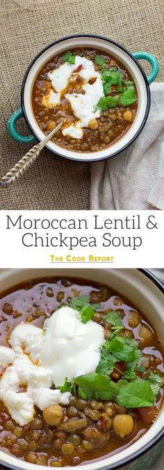 This Moroccan chickpea & lentil soup is a delicious, healthy and filling soup. I serve mine topped with a scoop of Greek yoghurt and a crumbling of feta.