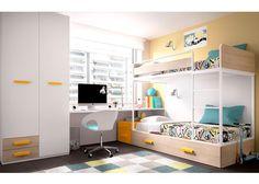 Dormitorio Infantil con Litera alta y escritorio