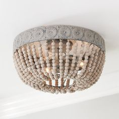 Aged Wood Beaded Ceiling Light Classic style meets rustic charm with this distressed flush mount ceiling light featuring a dome-shaped basket of weathered gray wash wooden Ceiling Light Shades, Semi Flush Ceiling Lights, Flush Mount Lighting, Lighting Shades, Flush Mount Chandelier, Flush Mount Ceiling Fan, Bathroom Ceiling Light, Bathroom Light Fixtures, Ceiling Light Fixtures