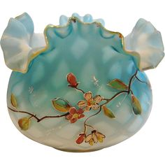 English Small Flower Art Glass Bowl Satin MOP Diamond Quilted Clear Shading to Blue Cased Hand Enameled Blossoms Leaves Crimped Rim c 1885