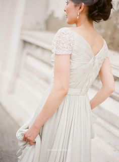 cap sleeves v back sexy chiffon wedding dress beaded sequins