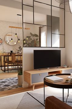 Peeking on Modern and Minimalist Room Partition with Half Glass on It Living Room Partition Design, Room Partition Designs, Glass Partition, Home Room Design, Home Interior Design, Living Room Designs, Living Room Tv, Home And Living, Cabinets For Living Room