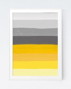 Yellow Grey Print Mustard Gray Print Shadows of Grey Brush Yellow… – Marble Bathroom Dreams Yellow Grey Bedding, Yellow Accent Walls, Yellow Wall Art, Yellow Painting, Grey Yellow, Bedroom Yellow, Yellow Print, Bathroom Wallpaper Yellow, Yellow Bathrooms