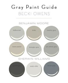 Grays by Benjamin Moore: BM Balboa Mist. BM Shale. BM Coventry Gray. BM Revere Pewter. BM Stonington Gray. BM San Antonio gray. Grays by Sherwin Williams: SW Gauntlet Gray. SW Simply White. SW Serious Gray.