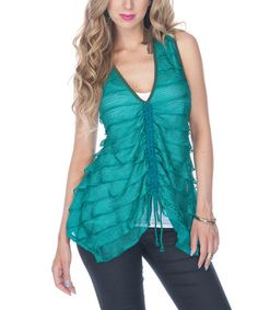 Take a look at this Teal Tiered Sheer Sleeveless Top by Lily on #zulily today!