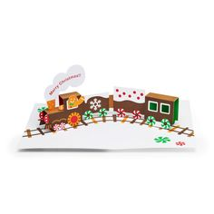 Gingerbread Train Holiday Cards - Set of 8 in color Gingerbread Train, Pop Up Greeting Cards, Holiday Pops, Red Envelope, 3d Cards, Last Minute Gifts, Museum Of Modern Art, Card Sizes, Holiday Cards