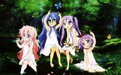 Lucky star. Miyuki, Konata , Kagami and Tsukasa