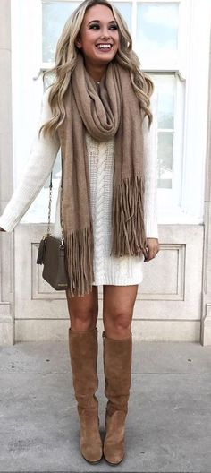 I LOVE this sweater dress look, and the tall boots are perfect! This look is definitely ME!!! The camel scarf looks super soft and adds just the right touch! Love it!