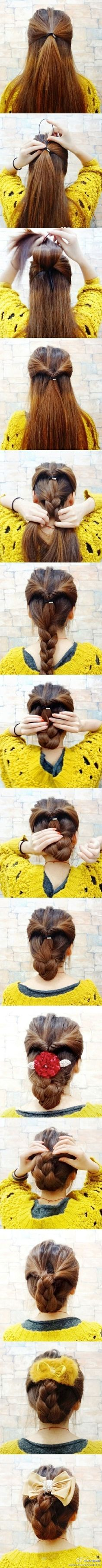 Another pretty braid this one is good to wear with a big clip or bow (not like the hideous ones in the pic)