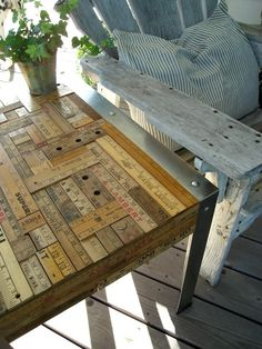 Upcycled Vintage Yardstick Table love this, but would have to use regular yard sticks and make them look vintage Furniture Projects, Home Projects, Diy Furniture, Recycled Furniture, Upcycled Vintage, Repurposed, Vintage Decor, Yard Sticks, Stir Sticks