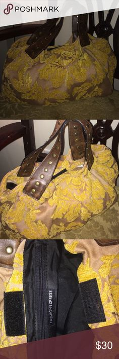❤WKND SALE❤Vintage Handbag Tan/cream purse with mustard yellow embroidery. Such a cute piece. Brown pho leather straps with studs fashion express Bags Mini Bags