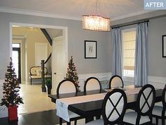 Dining Room blue silver drapes, Double pedestal table, wainscoting, BM Revere Pewter paint