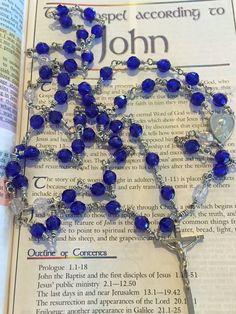 Cobalt Blue Wrapped Loop Rosary