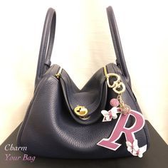 9119bc7e43fd Butterfly Initial bag charm Bag accessory Handmade Tailored Made Suitable  for any brand Hermes, Chanel, Goyard, Gucci, Prada, Fendi, Dior, Celine,  LV, ...