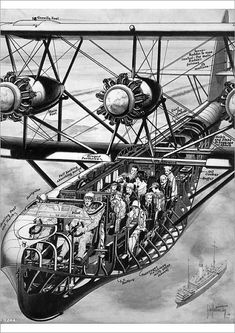Greetings Card-Contemporary cutaway drawing of the Short Calcutta-Photo Greetings Card made in the USA Civil Aviation, Aviation Art, Air France, Passenger Aircraft, Private Plane, Flying Boat, Framed Prints, Canvas Prints, Cutaway