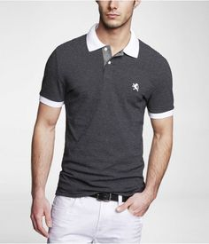 Express Mens Fitted Dotted Stripe Pique Polo Pitch Black, Small