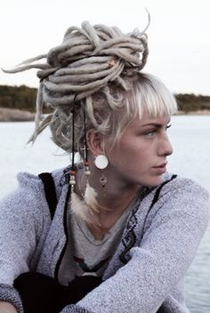 Platinum Blond Dreads and Blunt Bangs