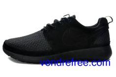 pretty nice be37d 93e9c Vendre Pas Cher Chaussures Homme Nike Roshe Run (couleur tout noir) en  ligne en France.