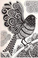 Free coloring page coloring-adult-dark-bird. dark bird drawing, with simple zentangle patterns Doodles Zentangles, Zentangle Drawings, Bird Drawings, Zentangle Patterns, Doodle Drawings, Ink Doodles, Mandala Art, Zen Doodle, Doodle Art