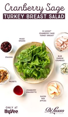 DI LUSSO® Cranberry Sage Turkey Breast is the perfect addition to your fall lunches. Pair with blue cheese, apple slices and cranberry vinaigrette on a bed of greens. Spinach Recipes, Easy Salad Recipes, Easy Salads, Lunch Recipes, Healthy Recipes, Breakfast Recipes, Beer Recipes, Asian Recipes, Cooking Recipes
