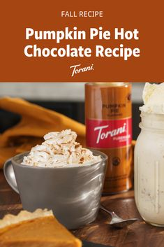 This Pumpkin Pie hot chocolate is great for fall. This pumpkin spice hot chocolate recipe uses Torani syrups and is easy to make at home. Grab our full pumpkin hot chocolate recipe here! Pumpkin Drinks, Pumpkin Smoothie, Pumpkin Dessert, Pumpkin Recipes, Pumpkin Spice Hot Chocolate Recipe, Pumpkin Spice Syrup, Hot Chocolate Recipes, Hot Chocolate Ingredients, Baking Ingredients