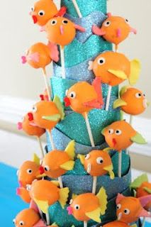 orange and blue party theme Goldfish cake pops Goldfish Cake, Goldfish Party, 1st Birthday Parties, 2nd Birthday, Birthday Ideas, Tea Parties, Fish Cake Pops, Ocean Party, Shark Party