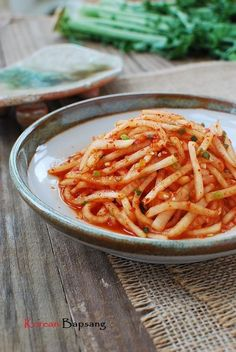 Mu Saengchae (Spicy Korean Radish Salad) This site has many wonderful Korean recipes