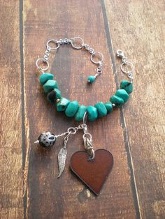 Darlin' I'm Charmed bracelet heart Valentine's by greygirldesigns, $45.00