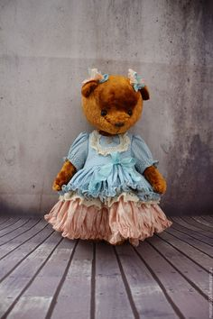Маруся - коричневый, голубой, мишка, мишка тедди, винтаж, винтажный стиль, винтажный мишка