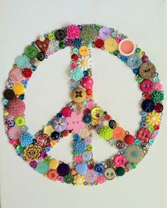 Multicolored Peace Sign Buttons Brads Swarovski by BellePapiers, $50.00