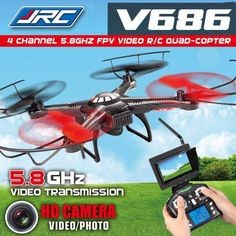 Drone JJRC V686 FPV 5.8G Headless Mode RC Quadcopter with HD Camera Monitor