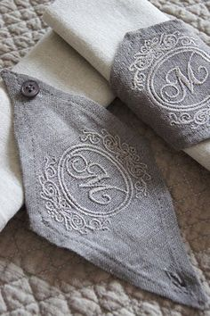 "napkin holders....Next project....linen with an ""S"""