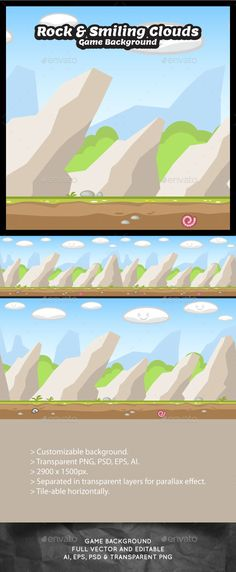 Rock and Smiling Clouds - Nature Game Background - Backgrounds Game Assets