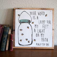 Psalm 119:105   Mason Jar & Fireflies  Hand by AverieLaneBoutique