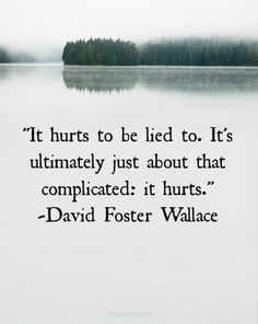 """""""It hurts to be lied to. It's ultimately just about complicated: it hurts."""" -David Foster Wallace"""
