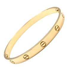 CARTIER Love Size 19 Yellow Gold Bangle | From a unique collection of vintage bangles at http://www.1stdibs.com/jewelry/bracelets/bangles/