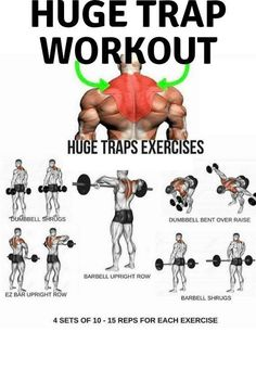 Want huge trap? Try this huge trap workout for twice a week! Want huge trap? Try this huge trap workout for twice a week! Want huge trap? Try this huge trap workout for twice a week! Want huge trap? Try this huge trap workout for twice a week! Gym Workout Chart, Gym Workout Videos, Workout Guide, Week Workout, Traps Workout At Home, Back Workout Men, Workout Routines, Fitness Workouts, Weight Training Workouts