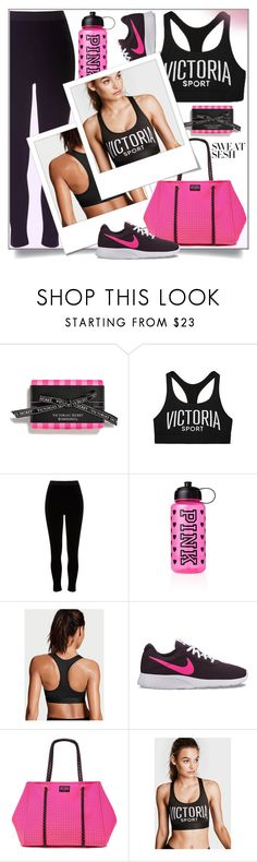 """""""Sweat Sesh: Gym Style"""" by shoaleh-nia ❤ liked on Polyvore featuring Victoria's Secret, River Island, Victoria Sport and NIKE"""