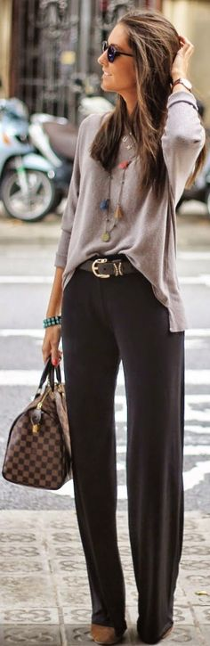 Luv to Look | Curating Fashion & Style: Street style | Grey sweater, palazzo pants, Handbag