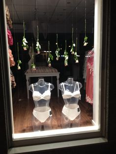 lingerie window display, roses, spring, Felina underwear, Putiikki Bra