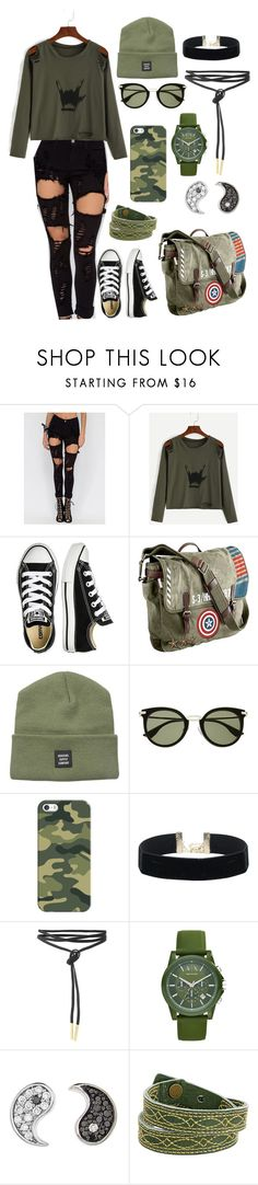 """Rock on 🤘🏻"" by danihemmingsbiebs ❤ liked on Polyvore featuring Converse, Marvel, Herschel Supply Co., Witchery, Casetify, Armani Exchange, Sydney Evan and Frye"