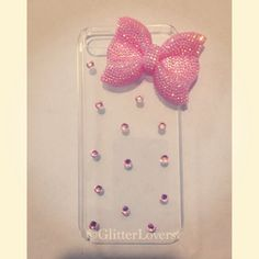 Bling bow and crystal iPhone 5 case by GlitterLovers on Etsy Cool Phone Cases, 5s Cases, Pink Bling, Iphone Se, Cell Phone Accessories, Cool Designs, Bows, Unique Jewelry, Crystals