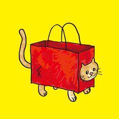 今日のイラストは袋のネコ