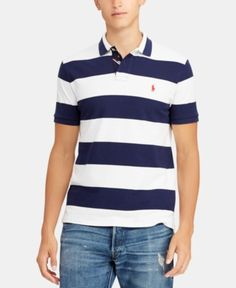 f4cd11aa31 Polo Ralph Lauren Men s Classic Fit Striped Cotton Polo - Blue L