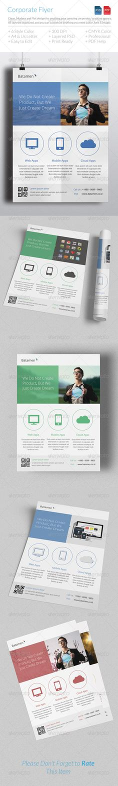 """Corporate Flyer Template Clean, modern, elegant and flat design style for anything corporate or creative agency. All layers can be changed, you can replace all the information on the flyer in easy way with just a few clicks.  Features:  › CMYK › 300 DPI › A4 & Letter With Bleeds › Print Ready › Modern Design › Clean › Easy To Use › Free Font Use  Print Dimension :  vertical A4 – 8.27"""" x 11.69"""" (210mm x 297mm) + 3mm bleeds vertical US Letter – 8.5"""" x 11"""" (215.9mm x 279.4mm) + 0.25"""" bleeds"""